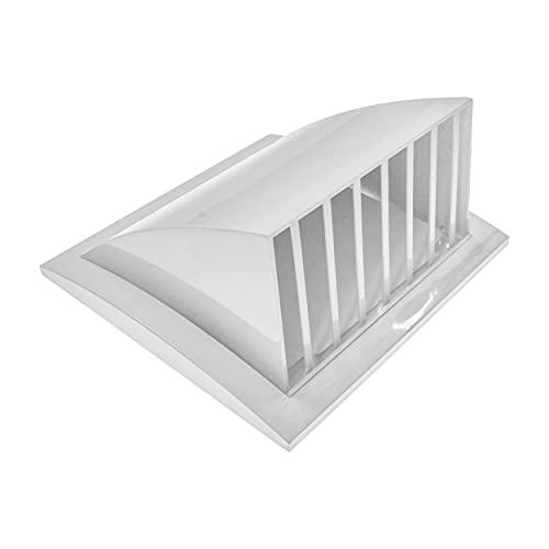 150 mm, 190 x 190 mm, colore bianco, griglia di ventilazione con copertura antipioggia, copertura di scarico con parapioggia, copertura interna ed esterna, senza viti.
