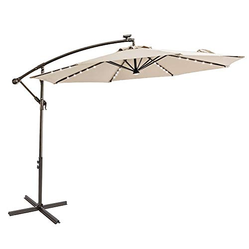 C-Hopetree 10 ft Offset Cantilever Outdoor Patio Umbrella with Solar LED Lights – Beige