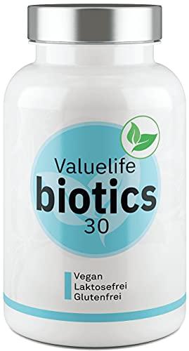 Biotics30 Darmflora Komplex - Einzigartig: 30 Bakterienkulturen mit Inulin zur Unterstützung von Darm und Verdauung - 2- Monats- Darmkur von VALUELIFE