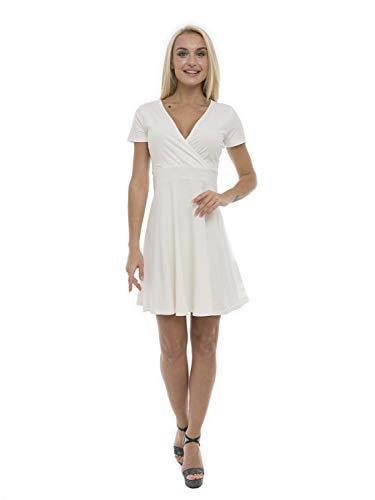 ABAKUHAUS Vestido de Verano de Escote Cruzado para Dama, XL, Blanco Roto