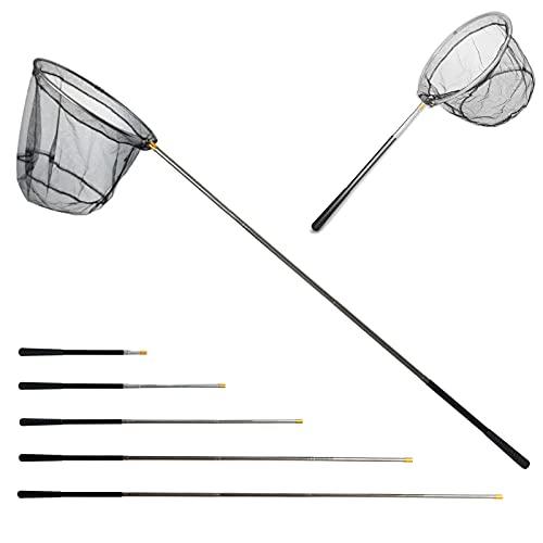 Retino da Pesca Pieghevole Estensibile,Guadino per Pesca Telescopico,Alluminio Manico Estendi la Lunghezza di 190cm,Durevole in acciaio inossidabile, per pesca di uccelli,acquario,oggetti galleggianti