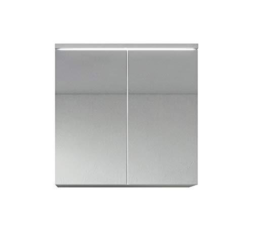 Badezimmer Spiegelschrank Toledo 60 cm – Stauraum Unterschrank Möbel Zwei Türen Weiß Schwarz Sonoma Eiche hell Lefkas Bodega (Weiß)