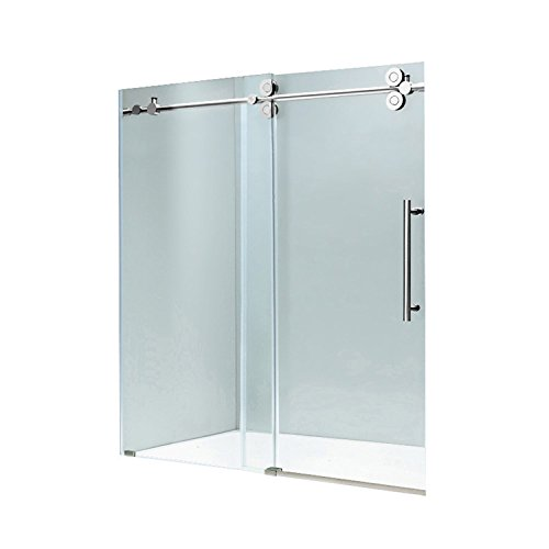 VIGO VG6041CHCL7274 3.0' -72.0' W -74.0' H Frameless Sliding Rectangle Shower Door with Clear 0.38' Tempered Glass...