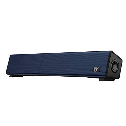 TaoTronics Bluetooth 5.0 Computer Speaker, Wired/Wireless Computer Sound Bar, Mini Soundbar Speaker for PC/Cellphone/Tablets/Desktop/Laptop, RCA/Aux Connection(Blue)