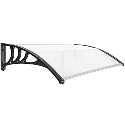 PrimeMatik - Tejadillo de protección 150x80cm Marquesina para Puertas y Ventanas Negro
