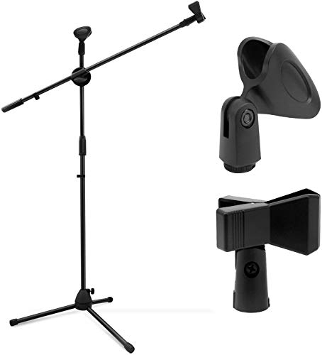 Blueberry R-030 Microphone Stand Dual Mic Clip/Collapsible Tripod Boom Stand