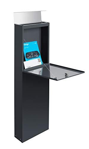 Frabox® Standbriefkasten NAMUR anthrazitgrau RAL 7016 / Edelstahl mit Hausnummer & Namen - 3