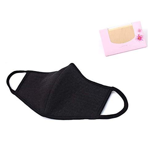 Made in Korea Unisex Kpop Mask 3D Black Cotton Face Mouth Mask BTS EXO Mask + SoltreeBundle Oil Blotting Paper 50pcs