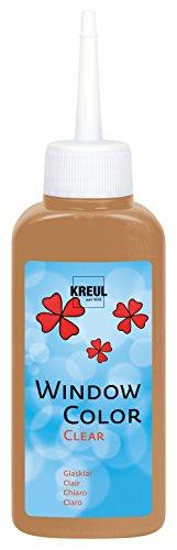 Kreul 40215 - Window Color Clear, Fenstermalfarbe auf Wasserbasis, für glatte Oberflächen wie Glas, Spiegel und Fliesen, 80 ml Malflasche, hellbraun