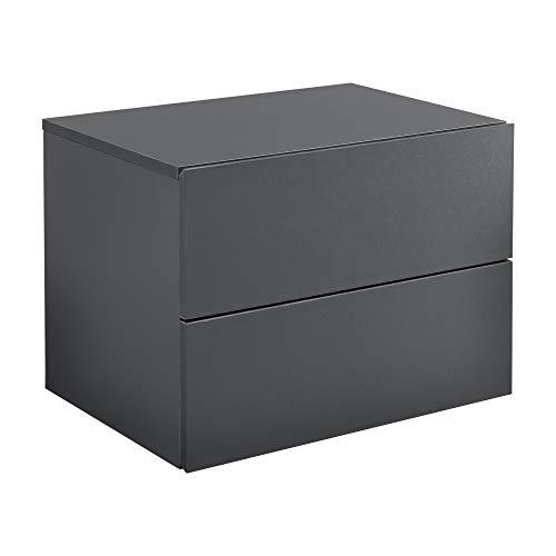[en.casa] Mensola da Parete con Cassetti 40 x 29 x 30 cm Comodino da Notte Portaoggetti da Muro - Grigio Scuro