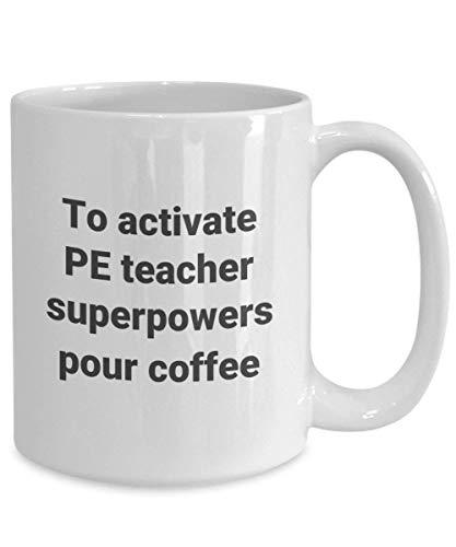 Taza de café personalizada Taza de profesor de educación física, taza de profesor de educación física, regalo de taza de té de café superpoder de enseñanza para PHYS Ed Teacher yayagrandma mujeres