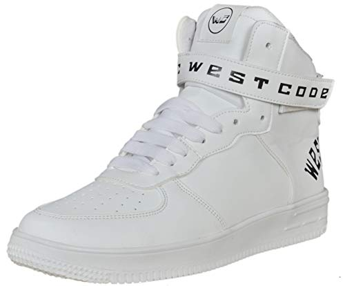 West Code Mens Synthetic Leather Casual Hip Hop Shoes 1218 White 8 Size