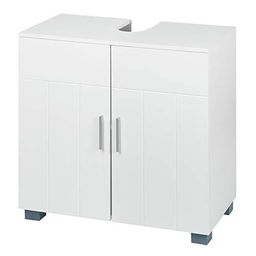 WOLTU Unterschrank Badschrank Badezimmerschrank Waschbeckenunterschrank Waschtisch Waschtischunterschrank aus MDF Weiß BZS48ws