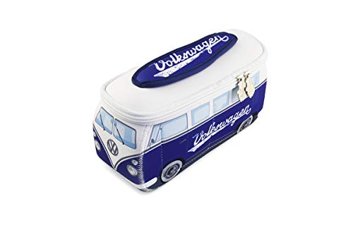 BRISA VW Collection Volkswagen VW T1 Bus Bolsa Universal de Neopreno, Estuche para lápices, Caja de papelería, Neceser, Bolso de Maquillaje-Cosméticos-Aseo para Escuela/Oficina/Regalo - Clásico/Azul