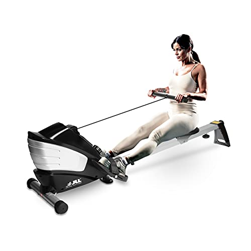 JLL® R200 Luxury Home Rowing Machine, 2021 Model Rowing Machine Fitness Cardio Workout with Adjustable Resistance, Advanced Driving Belt System, 12-Month Warranty, Black and Silver Colour