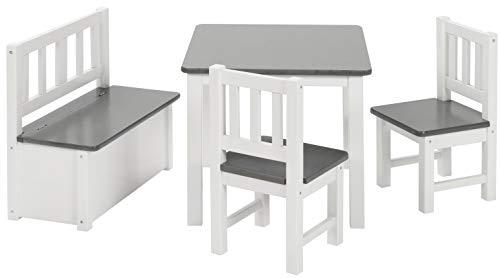 BOMI Kindermöbel Tisch und Stühle   Kindertruhenbank aus Kiefer Massiv Holz   Kindersitzgruppe für Kleinkinder, Mädchen und Jungen in Grau