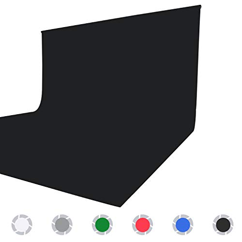 Issuntex 6X9 ft Black Background Muslin Backdrop,Photo Studio,Collapsible High Density Screen for Video Photography and Television
