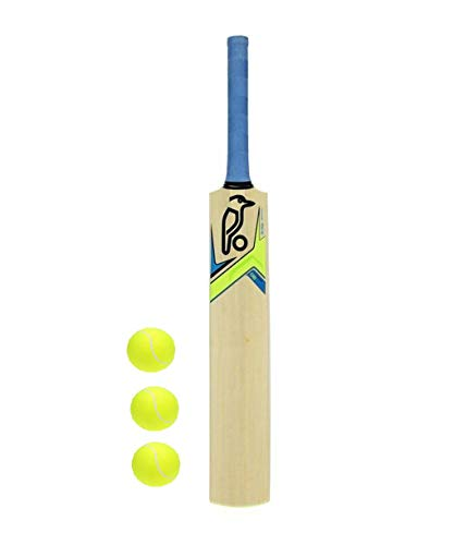 pmg junior cricket bat with 3 tennis balls combo for kids, 7-9 years (Multi color, sticker may vary)