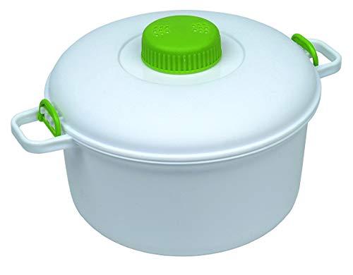 Microwave it - Pentola a pressione, Bianco/Verde, 26.7 x 21 x 14 cm