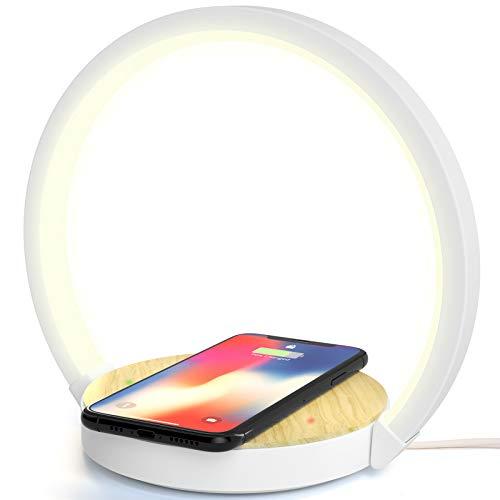 Lampada da Scrivania Tavolo LED Comodino con Caricatore Wireless Caricabatterie QI Senza Fili 10W 3 Livelli Luminosit Touch Control Indicatore di Ricarica di ELEHOT