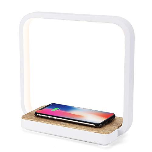 WILIT Lampada da Comodino Dimmerabile con 5W Ricarica Wireless Qi-Enabled, Lampada da Tavolo Toccare con 3 Livelli di Luminosit, Caricabatterie per iphone 12/11/XR/XS/X/8, Samsung Galaxy S10/S9/S8