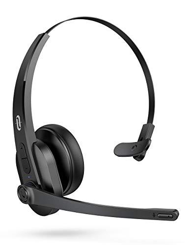 TaoTronics Cuffie Bluetooth 5.0 Senza Fili con Microfono Tecnologia Smart AI Noise Reduction, 34H Playtime, Pulsante Mute, Cuffie Wireless On Ear per Camionisti/Call center/Ufficio/Skype