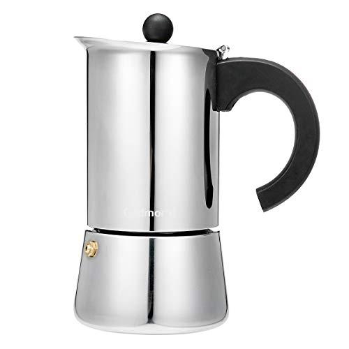 Godmorn Cafetera Italiana,Cafetera espressos en Acero inoxidable430,300ml,6 Tazas(Taza de Expresso = 50ml),Conveniente para la Cocina de inducción,Vitrocerámica.Pared Engrosada,Cafetera Moka Clásica