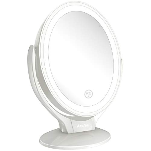 Aesfee LED Lighted Makeup Vanity Mirror Rechargeable,1x/7x Magnification Double Sided 360 Degree Swivel Magnifying Mirror with Dimmable Touch Screen, Portable Tabletop Illuminated Mirrors - White