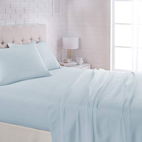 AmazonBasics Lightweight Super Soft Easy Care Microfiber Bed Sheet Set with 16' Deep Pockets - Queen, Light Blue