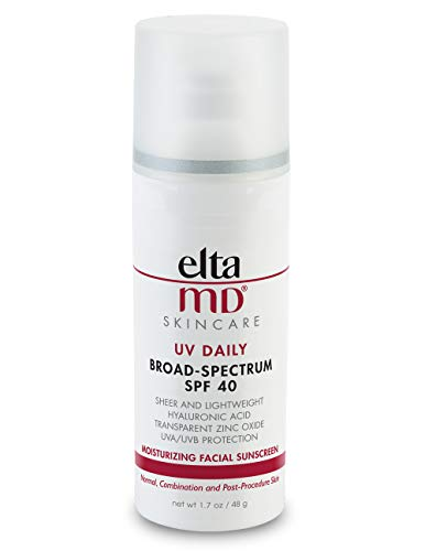 EltaMD UV Daily Face Sunscreen Moisturizer with Hyaluronic Acid, Broad Spectrum SPF 40, Non greasy, Sheer Lotion, Mineral-Based Sun Protection, 1.7 oz