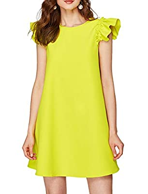 """Chiffon a line tunic dress Fabric: no stretch, lightweight, not see through Cap sleeve, ruffle trim sleeve, crew neck, a line, knee high, solid Style: a line dress, tunic dress, summer dress, beach dress, little party dress XS-Bust: 35.3"""", Length: 31..."""