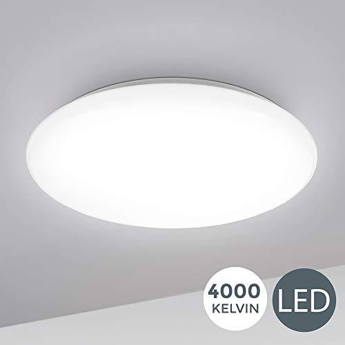 B.K.Licht I 12W LED Deckenlampe I 4.000K Neutralweiß I 1.200 Lumen I Ø28cm I Schutzart IP20 I Schlafzimmerlampe gewölbt I LED Deckenleuchte