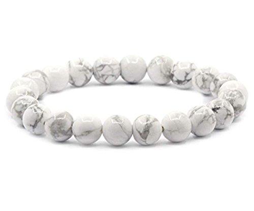 1pc Natural White Howlite Gemstone Beaded Bracelet 7 inch...