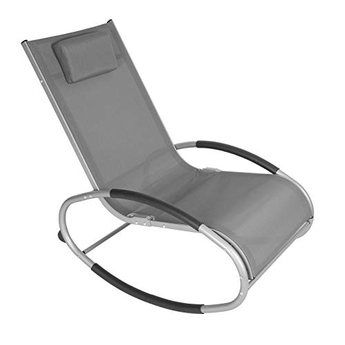 WOLTU Schwingliege Liegestuhl Sonnenliege Gartenliege Schaukelstuhl Relaxliege, bis 160 KG belastbar, atmungsaktiver Textilene Bezug, für Garten und Terrasse, Grau, LS003gr