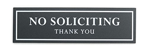 Kubik Letters No Soliciting Sign for House - Modern Design Door Sign 5 mm (200 mil) Thick Acrylic Size 2.35' x 8.25' with 3M Double Sided Tape (Dark Grey Metallic)