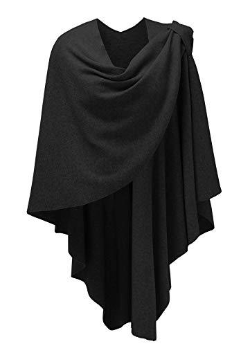 PULI Damen Sweatshirt Strickschal vorne kreuzen Poncho Decke Cape Cardigan Wickelschal , 1-schwarz, Gr. Einheitsgröße