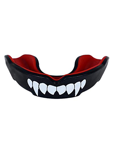 INVINCIBLE Rubber Combat Mouth Guard (Black. Red, Teeth)