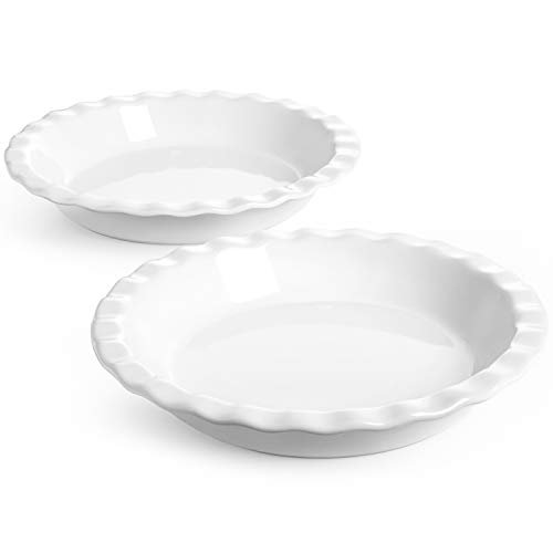 LE TAUCI 9 Inch Pie Pan,Baking Pans For Apple Pie,Pecan Pie,Set of 2,White