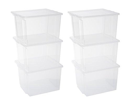 Iris 130625, 6er-Set Aufbewahrungsboxen / Kisten mit Deckel / Stapelboxen Useful Storage Box, USB-M, Kunststoff, transparent, 42 x 36 x 26,5 cm