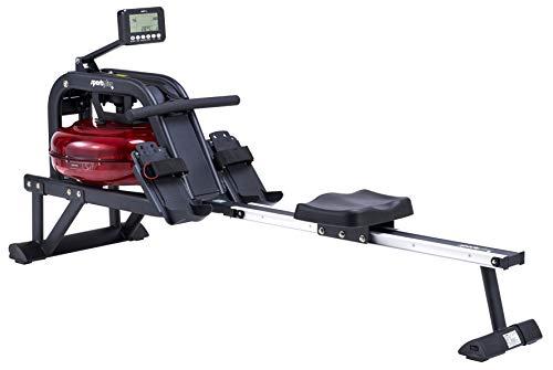 SportPlus Wasserrudergerät für zuhause - Rudergerät mit 6-fach regulierbarem & realistischem Wasserwiderstand, hochwertiger Trainingscomputer mit Rennsimulator, bis 130kg, TÜV geprüfte Sicherheit