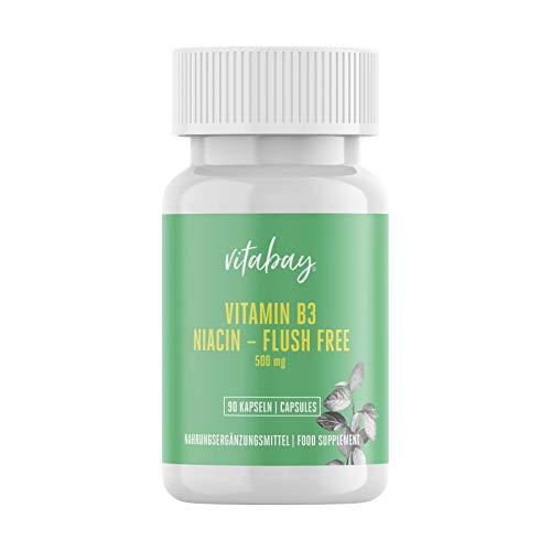 Vitabay Vitamin B3 Niacin Flush free 500 mg • 90 vegane Kapseln • Hochdosiert • Made in Germany