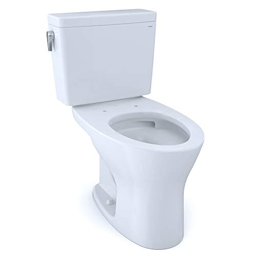 TOTO CST746CSMG#01 Drake Two-Piece Elongated Dual Flush 1.6 and 0.8 GPF DYNAMAX TORNADO FLUSH Toilet with CEFIONTECT, Cotton White