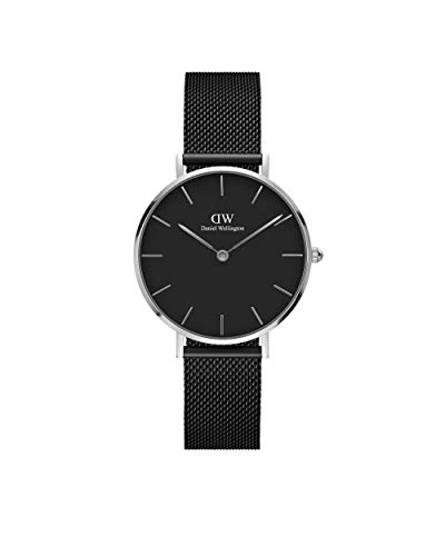 Daniel Wellington Petite Ashfield, Schwarz/Silber Uhr, 28mm, Mesh, für Damen