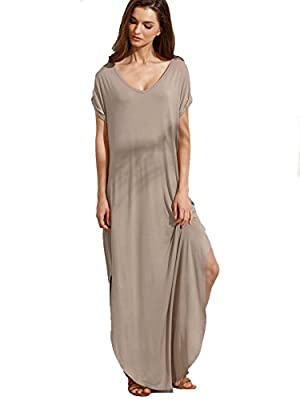 Very long, loose, recommend to choose one size down Loose Fit. V neck, short sleeve, side split pockets Soft and comfortable. Fabric is very stretchy Perfect for casual, home, bedroom, loungewear, holiday and beach wear Please refer to the last image...