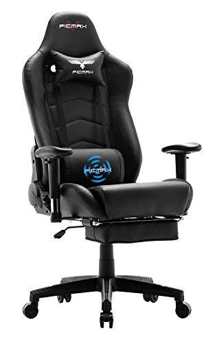 Ficmax Gaming Chair Massage Ergonomic Computer Gaming Chair Reclining Racing Office Chair with Footrest High Back Gamer Chair for E-sports Large size Gaming Desk Chair with Headrest and Lumbar Support