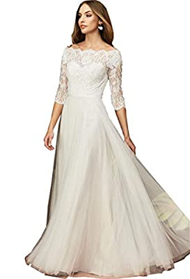 DESIGN: Sheer boat neckline, lace half sleeve, long a-line soft tulle skirt, zipper back OCCASION: This dress suits for homecoming, prom, evening cocktail party, wedding party, pageant, office, club, family gathering or any other formal occasions SIZ...