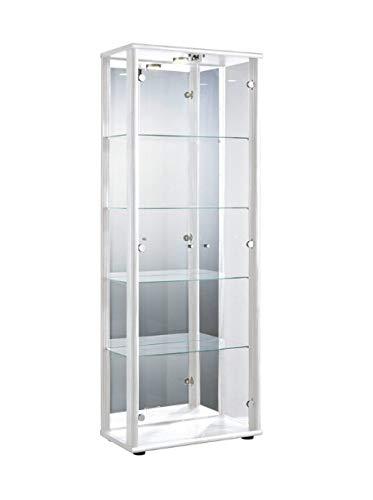 Markenlos Glasvitrine in Weiss(176x67x33 cm) mit 4 höhenverstellbaren Glasböden aus ESG, LED, Schloss und Spiegel; beleuchet; perfekt für Sammler;