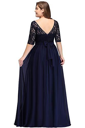 Misshow Damen Übergröße Abendkleid Spitze Chiffon mit Ärmel Elegant Lang Ballkleid , Blau, 46