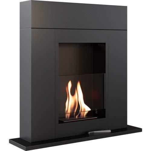 Bioethanol Ethanol Fireplace Bio-Fireplace Whiskey 1 Black TÜV-Certified Standing Fireplace Ethanol