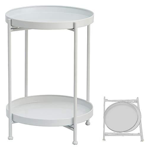 TZAMLI Tavolino da salotto in metallo, rotondo, comodino, con vassoio e ripiano rimovibile, tavolo pieghevole per soggiorno (bianco, 40 x 50 cm)
